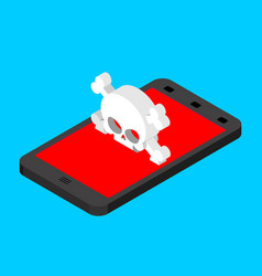 virus in smartphone cyber attack on phone skull vector image