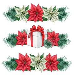 watercolor christmas line divider decoration vector image