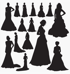 Wedding dresses silhouettes vector