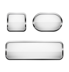 white glass buttons with chrome frame 3d icons vector image