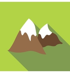Winter mountains icon flat style vector image