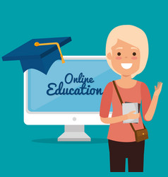 young woman with computer education online vector image