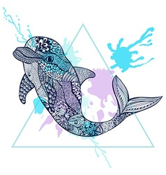 Zentangle stylized Blue Dolphin in triangle frame vector image