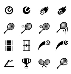 black tennis icon set vector image