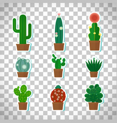 cactus icons set on transparent background vector image vector image