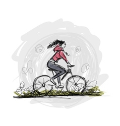 Girl cycling sketch for your design vector image