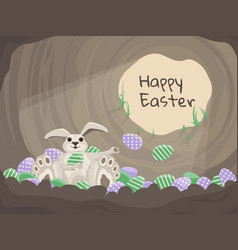 happy easter card background with rabbit vector image