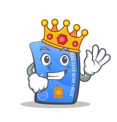king credit card character cartoon vector image vector image