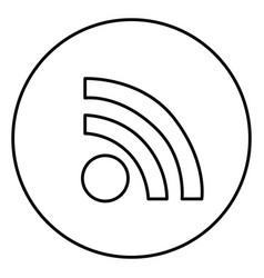 monochrome contour circular frame with wifi icon vector image