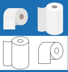 set of tissue roll in flat design and outline icon vector image