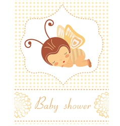Baby shower card with butterfly girl sleeping vector image vector image