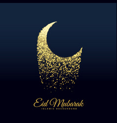 eid festival moon made with glitters vector image vector image