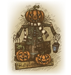 Halloween drawn by hand vector image vector image