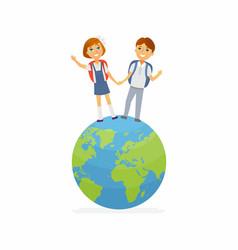 school children - characters of happy boy girl on vector image vector image