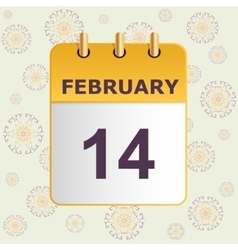 Valentine s day calendar icon on pattern with vector image vector image