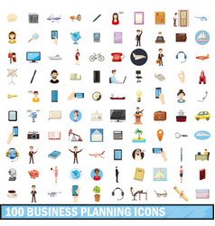 100 busness planning icons set cartoon style vector image