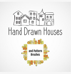 houses and brushes vector image