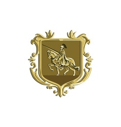 Knight Riding Steed Lance Coat of Arms Retro vector image vector image