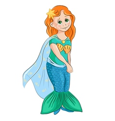 Little girl in the costume of mermaid vector