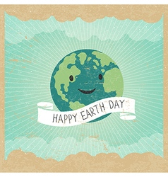Vintage Earth Day Poster Cartoon Earth Rays clou vector image