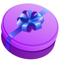 Violet round gift box with ribbon and bow vector image