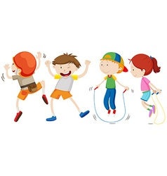 Boys and girl in different movement vector image vector image