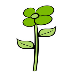 green flower eco icon cartoon vector image