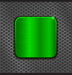 green metal square plate on iron perforated vector image