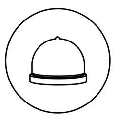 monochrome contour circular frame with cloche icon vector image