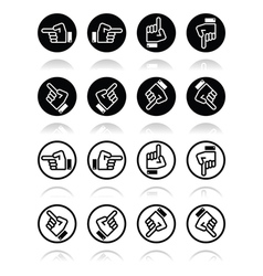 Pointing hand - up down across round icon vector image vector image