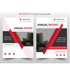 red abstract triangle annual report leaflet vector image vector image