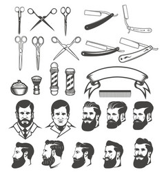 set of barber tools mans heads design elements vector image vector image