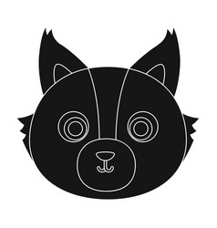 wolf muzzle icon in black style isolated on white vector image vector image