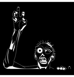 Zombie white Silhouette for black background vector image