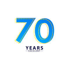 70 years excellent anniversary celebration blue vector