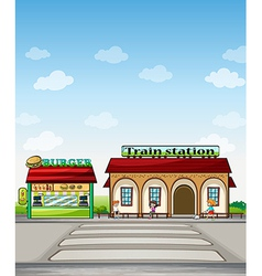 A burger junction and a train station vector