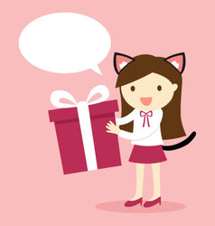a girl wearing cat ears and tail holding gift box vector image