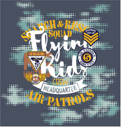 Air patrol flying kids crew vector