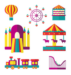 amusement park set flat style vector image