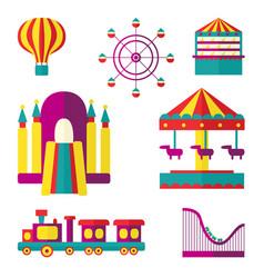 Amusement park set flat style vector