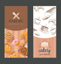 bakery advertisement vertical banners with vector image