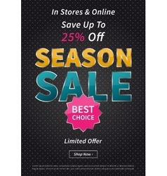 Banner Season Sale on black vector image