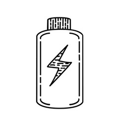 battery empty icon doodle hand drawn or black vector image