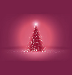 beautiful pink christmas tree of lights vector image