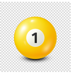 Billiardyellow pool ball with number 1snooker vector