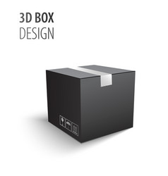 Black closed carton delivery packaging 3d box with vector