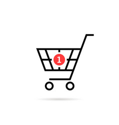 black thin line simple shopping cart with one vector image