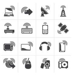 Black wireless and technology icons vector