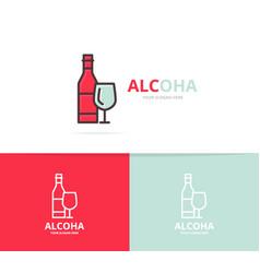 bottles wine logo design template vector image