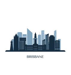 brisbane skyline monochrome silhouette vector image